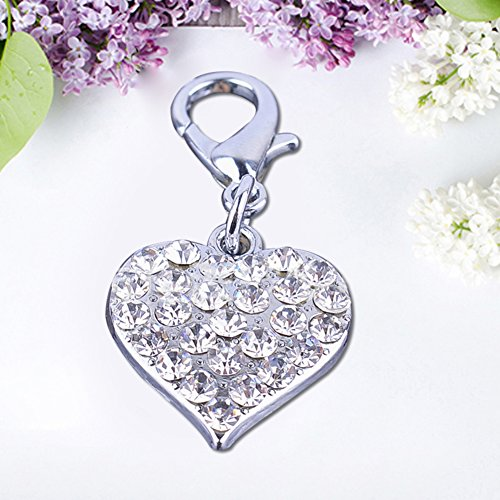 ZX101 Love Heart Shape Cute Pendant Rhinestone Inlaid Pet Dog Collar Necklace Charm Tag Dog Accessory - Silver (Dog Collar Charm Rhinestone)