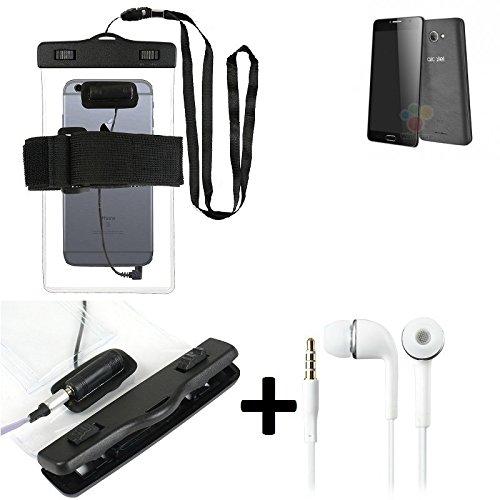 Estuche estanco al agua con entrada de auriculares para Alcatel One Touch Pop 4S 16 GB + auricular incluido, transparente | Trotar bolsa de playa al aire libre caja brazalete del teléfono caso de cásc
