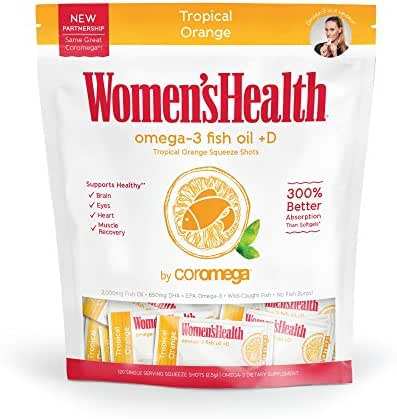 Coromega Omega-3 Squeeze Packets with Vitamin D3, DHA and EPA, Tropical Orange, 120-Count (Packaging May Vary)