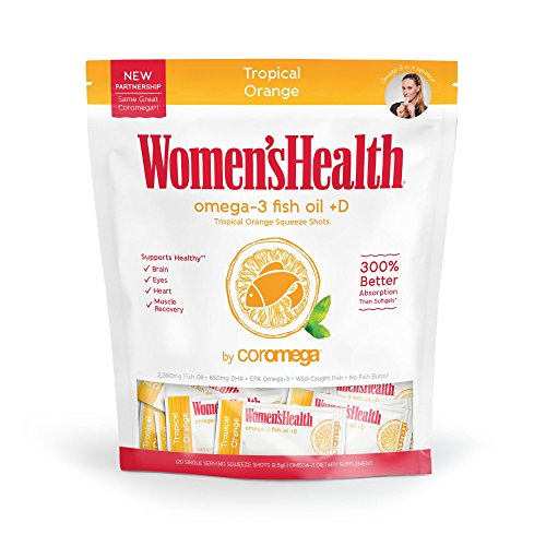 Coromega Womens Health Omega 3 Fish Oil Supplement, 650mg of Omega-3s with 3X Better Absorption Than Softgels, Tropical Orange Flavor, 120 Single Serve Squeeze Packets