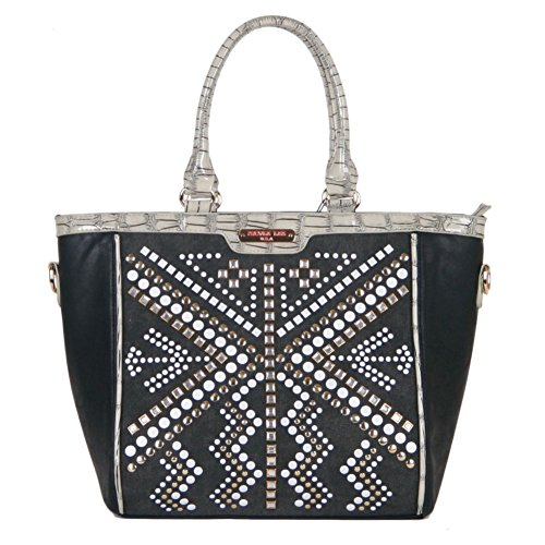 UPC 847161062320, JOLENE GEOMETRIC STUDWORK TOTE BAG (BLACK)
