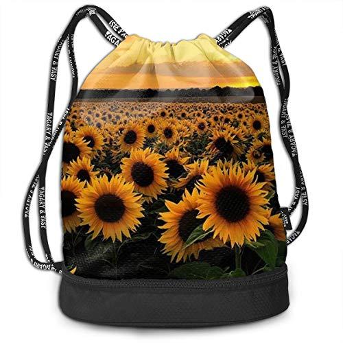 SUNFLOWERS DESIGNS Drawstring Backpack Traveling Gym Gymsack Large Capacity Beam Bag, Home Travel Storage Use Gift For Men & Women, Girls Boys ()