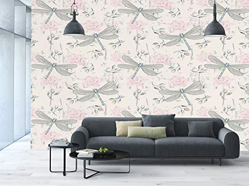 Vintage Rose Wallpaper - Large Wall Mural Sticker [ Dragonfly,Shabby Chic Roses Worn Old Vintage Backdrop with Moth Bugs Print Decorative,Pale Pink Pale Grey Coconut ] Self-Adhesive Vinyl Wallpaper/Removable Modern Decorati