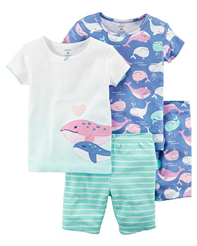 Carter's Girls' 4-Piece Whale Snug Fit Cotton PJS (Whales/Purple, 4)