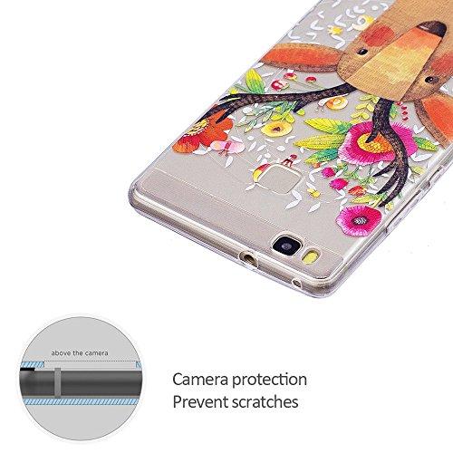Funda Huawei P9 Lite , (5.2 Pulgadas) Transparente Suave Gel Silicona TPU Carcasa para Huawei P9 Lite E-Lush Ultra Claro delgado Blanda Case Cover [Slim Fit] Cristal Flexible Ligero Protectiva Tapa Pa Ciervo grande