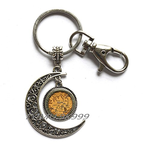 Iceland country map Moon Keychain, Iceland map Moon Key Ring, iceland europe jewelry friend family gift idea, map jewelry.Y258 (1) ()