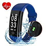 Fitness Tracker Watch, Cafar IP68 Waterproof Activity Tracker Heart Rate Monitor Bluetooth Smart Watch Wireless Smart Bracelet Sleep Monitor Pedometer Wristband for Android and iOS Smartphone Blue