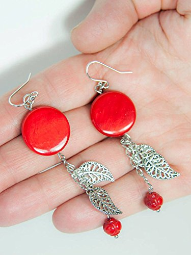 Red Sea Shell Coral Round Earrings, Red Coral Roses, Shell Beads Earrings, Charm Dangles Earrings, Frida Red Earrings, Coral Beads, great gift for Mother's Day! (Bead Sea Coral Red)