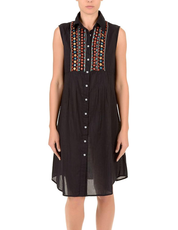 Iconique IC7-030 Women's Black Aztec Embroidered Camisole Beach Dress