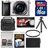 Sony Alpha A6000 Wi-Fi Digital Camera & 16-50mm Lens (Silver) with 16GB Card + Case + Battery + Flex Tripod + Filter Kit