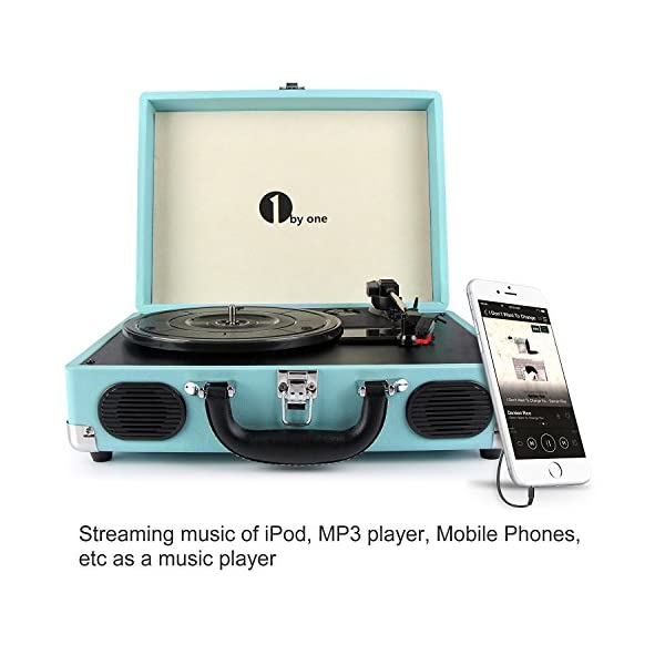1byone Belt-Drive 3-Speed Portable Vinyl Turntable with Built in Speakers, Supports RCA Output, Headphone Jack, MP3, Mobile Phones Music Playback, Turquoise (Blue)