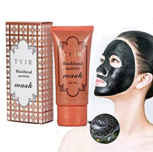 Blackhead Remover, Black Masks, Facial Exfoliator Cream Suction Cleaner Black Mask Tearing Resist Oily Skin Strawberry Nose Purifying Deep Cleansing Acne Remover Black Mud Peel-off Face Mask (60g)