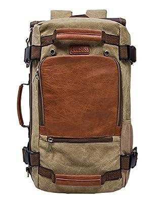ECOSUSI Vintage Canvas Backpack Travel Duffel Bag Rucksack Hiking Bag Casual Tactical Backpacks