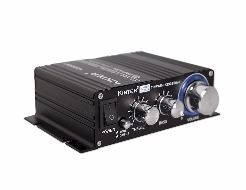 Kinter K2020A+ Limited Edition ORIGINAL Tripath TA2020-020 Class-T Hi-Fi Audio Mini Amplifier with 12V 5A Power Supply Black by Kinter