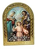 The Holy Family Small Icon Gold Metal Frame Standing Picture Religious Art 3.5''
