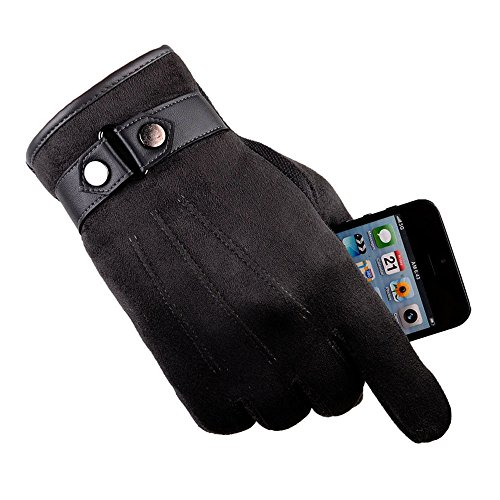 (Mens Black Winter Gloves Suede Leather Cuff Touch Screen Gloves Driving Gloves Cycling Gloves (Free, Coffee))