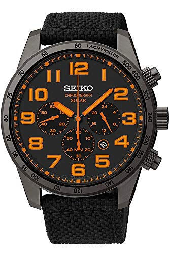 Watch Seiko Chronograph Tachymeter - Seiko Men's SSC233 Sport Solar Brushed Stainless Steel Watch