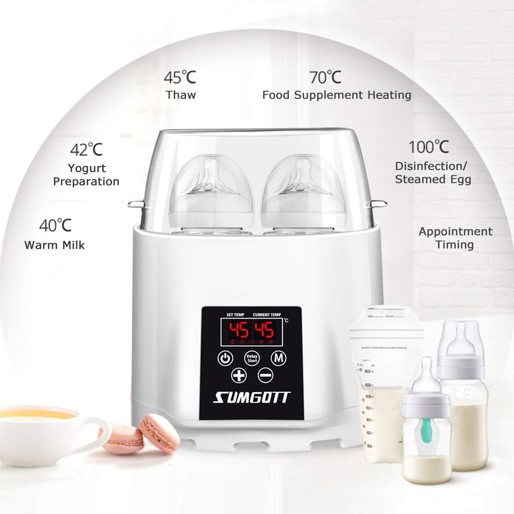 Baby Bottle Warmer With Timing And Reservation Function Rice Cooker Circuit C Cooking Timer Multifunctional Sterilizer Food Heater Sumgott Double Bottles Design Smart Thermostat