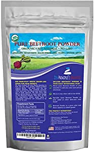 1 lb. Premium Organic Beetroot Powder. 100% USDA Certified. More Fiber and Less Sugar than Beet Juice. All Natural Energy Boost, Supports Healthy Liver and Heart. Made in USA. Beetroot.