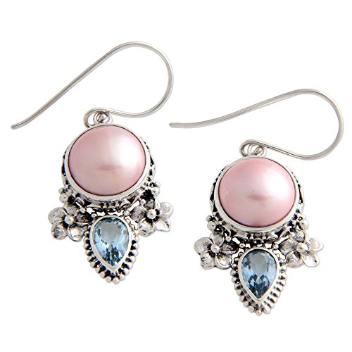 NOVICA Blue Topaz Dyed Pink Cultured Freshwater Pearl Sterling Silver Flower Earrings, Love Moon' ()