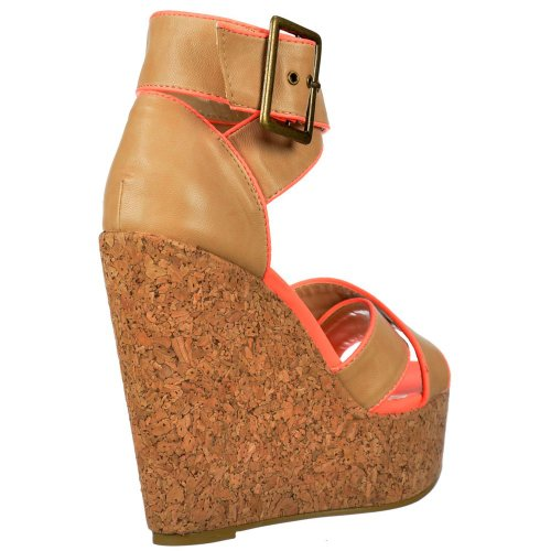 Cork Korallenrote Damen rosa Peep Ankle Cross Toe Dolcis Tan Strap Frauen Wedge Rosa Plattformen Over r7Ox7qE