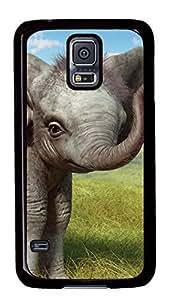 Diy Fashion Case for Samsung Galaxy S5,Black Plastic Case Shell for Samsung Galaxy S5 i9600 with Baby Elephant