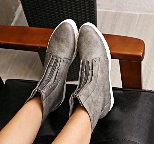 Ei&iLI Printemps des femmes / automne / hiver ronde Toe simili cuir Casual talons bas , gray , 34