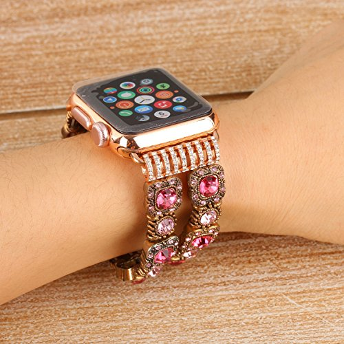 Juzzhou Band For Apple Watch iWatch Series 1/2/3 Sport Edition Style Elastic Stretch Woman Girl Bracelet Replacement Faux Pearl Jewels Wrist Strap Wriststrap With Stainless Steel Adapter Pink 38mm by Juzzhou (Image #3)