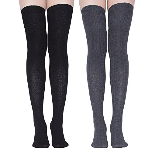 TooPhoto Stockings for Women Knee High Socks Thigh Highs Tube Athletic Striped Cosplay B3 [lengthen style]Black & Dark Gray from TooPhoto