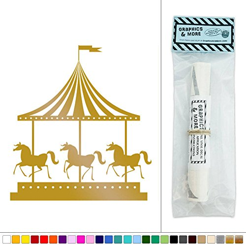 Carousel Horses Vintage Carnival Ride Vinyl Sticker Decal Wall Art Décor - Metallic Gold