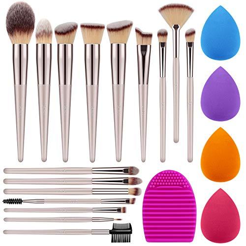 Syntus Makeup Brush Set, 16 Makeup Brushes & 4 Blender Sponges & 1 Brush Cleaner Premium Synthetic Foundation Powder…