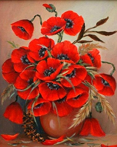 Vase Resin Stone Oil (WiHome 5D Diamond Painting Kits for Adults Full Drill Red Poppies in Neutral Vase Embroidery Rhinestone Painting)