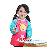 Hosim Children's Art Smock Long Sleeve Waterproof Painting Apron, Kids Lovely Monkey Artist Smocks Play Apron With Large Pocket, Ideal for Painting/Kitchen/Baking (M, Rose Red)