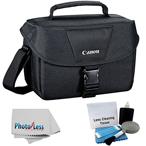 Canon Genuine Padded Starter Digital SLR Camera Lens Case Gadget EOS Shoulder Bag For T3 T3i T4i T5 T5i SL1 70D 60D 50D 7D 6D + Photo4less Cleaning Cloth and Camera & Lens 5 Piece Cleaning Kit