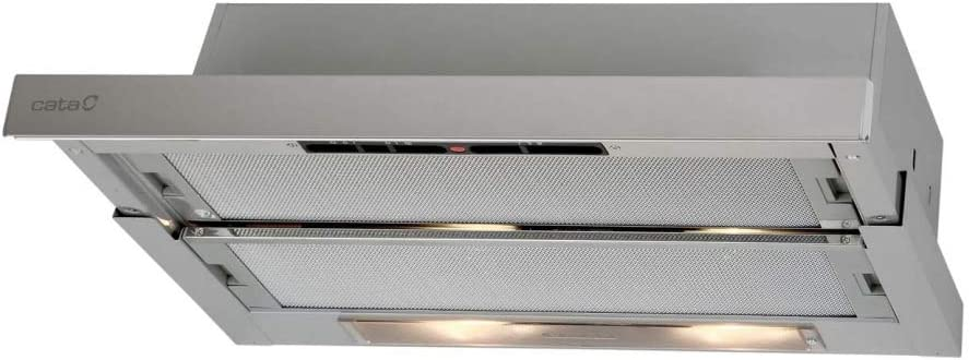Cata Modelo TF 5260 X extracción | Campana extractora Cocina 325m3/h-150m3/h | Acabado en Acero inoxidable | [ Clase de eficiencia energética D], 5.5 W, 65 Decibelios, Aluminio, 3 Velocidades