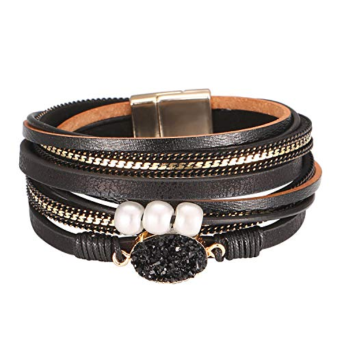 (Fesciory Women Multi-Layer Leather Wrap Bracelet Handmade Wristband Braided Rope Cuff Bangle with Magnetic Buckle Jewelry(Black Stone))