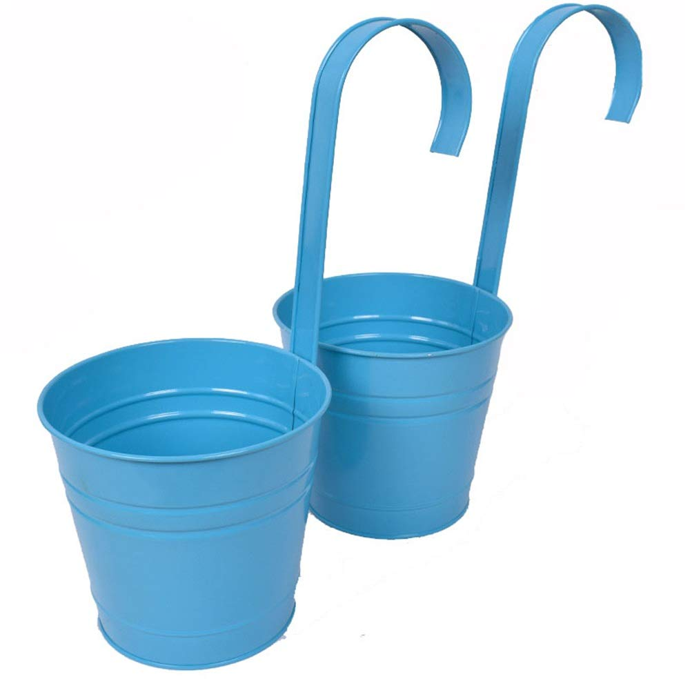 Sunsamy Hanging Pots 2 Set Metal Flower Bucket Hanging Balcony Garden Planter Home Decor Garden Home Ornaments Flower Holders (Color : Blue, Size : Size : 1412CM)