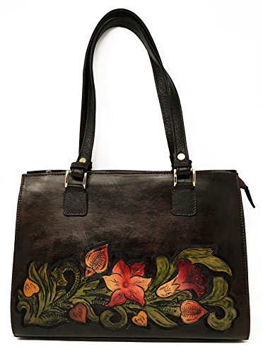 Savannah Vintage Floral Artisan Leather Handmade Shoulder Handbag Designer Gift for Women (Walnut) by Mauzari Sayulita