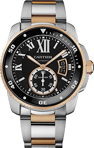 Cartier Calibre Black Dial Steel and Rose Gold Mens Watch W7100054