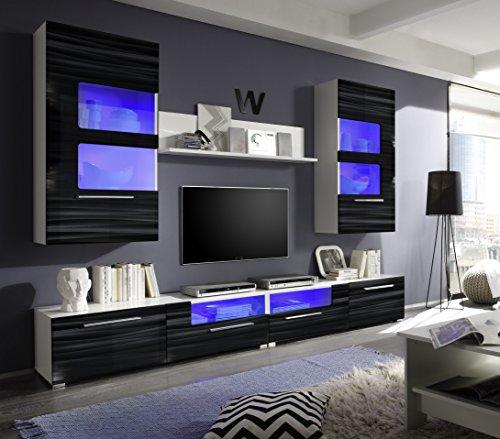 ROLLER Wohnwand CORNER - weiß-schwarz Hochglanz - mit Beleuchtung - 260 cm