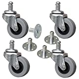 Pop In Style Amp Casters with Sockets - 2'' Non-Marking Polyurethane Wheel for Amplifiers Set of 4