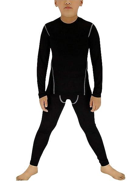 BUYKUD Kids Boys Long Sleeve Base Layer Compression Underwear Athletic Shirt Tights Top & Bottom Set Boys