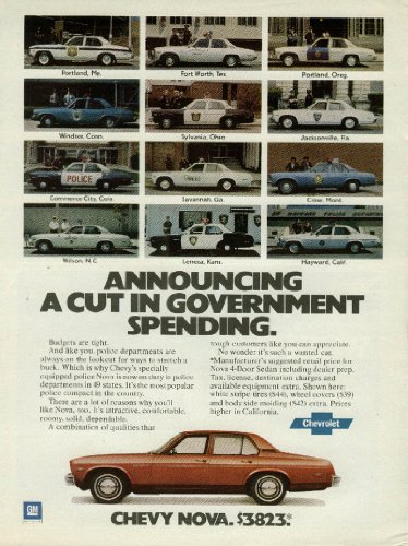 Announcing a cut in government spending Chevolet Nova Police Car ad 1978 from The Jumping Frog