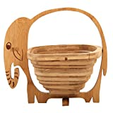 MyGift Natural Bamboo Elephant Shaped Collapsible Fruit Basket Bowl with Handle, Beige