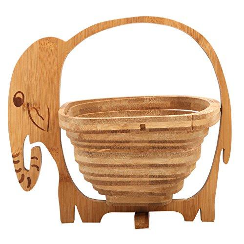 MyGift Natural Bamboo Elephant Shaped Collapsible Fruit Basket Bowl with Handle, (Elephant Fruit)