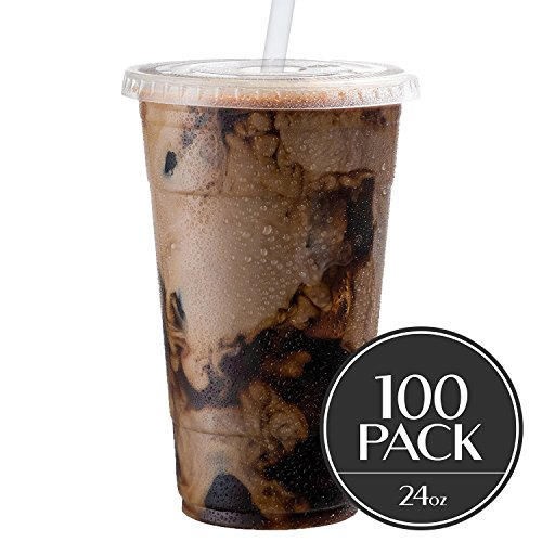 Cold Smoothie Go Cups and Lids | Iced Coffee Cups | Plastic Cups with Lids | 24 oz Cups, 100 Pack | Clear Disposable Pet Cups | Ideal for Parfait Juice Soda Cocktail Party Cups [Drinket Collection] (Ice Plastic Cups Soda Cream)