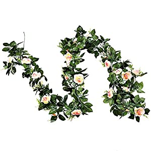 GTIDEA 2PCS 13 Ft Artificial Decorative Rose Vine Silk Floral Hanging Garland Backdrop for Home and Nursery, Wall Hanging, Wedding/Party Decor, Baby Shower Decorations 25