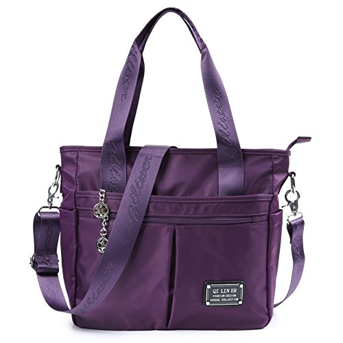 TENXITER Nylon Crossbody Bags for Women with Pockets,Tote Large Capacity Travel shoulder bag Handbag for Women 8826#(Purple)
