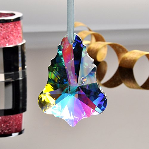 YUFENG 76MM Magnificent Crystal Honey Baroque Maple Leaf, Diamond Hanging Crystal Accent Perfect for Wedding Decorations Prism Pendant Suncatcher (Colorful)