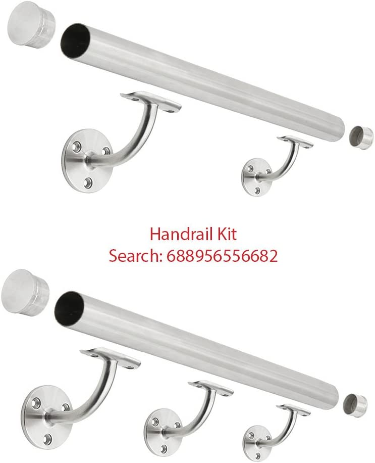 Marine Grade Support 2 OD Round Tubing Wall Mount Handrail Bracket for Wood /& Metal Stair Railing Stainless Steel 316 1-Pack